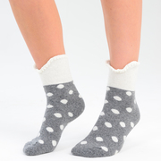Assorted 3 Pairs of Womens Two Tone Ruffle Top Spotted socks